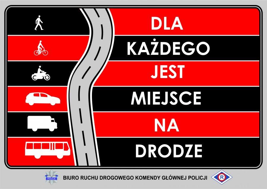 grafika z napisem - dla każdego jest miejsce na drodze zawierające symbole pieszego, rowerzysty, mocyklisty, samochodu osobowego, ciężarowego oraz autobusu